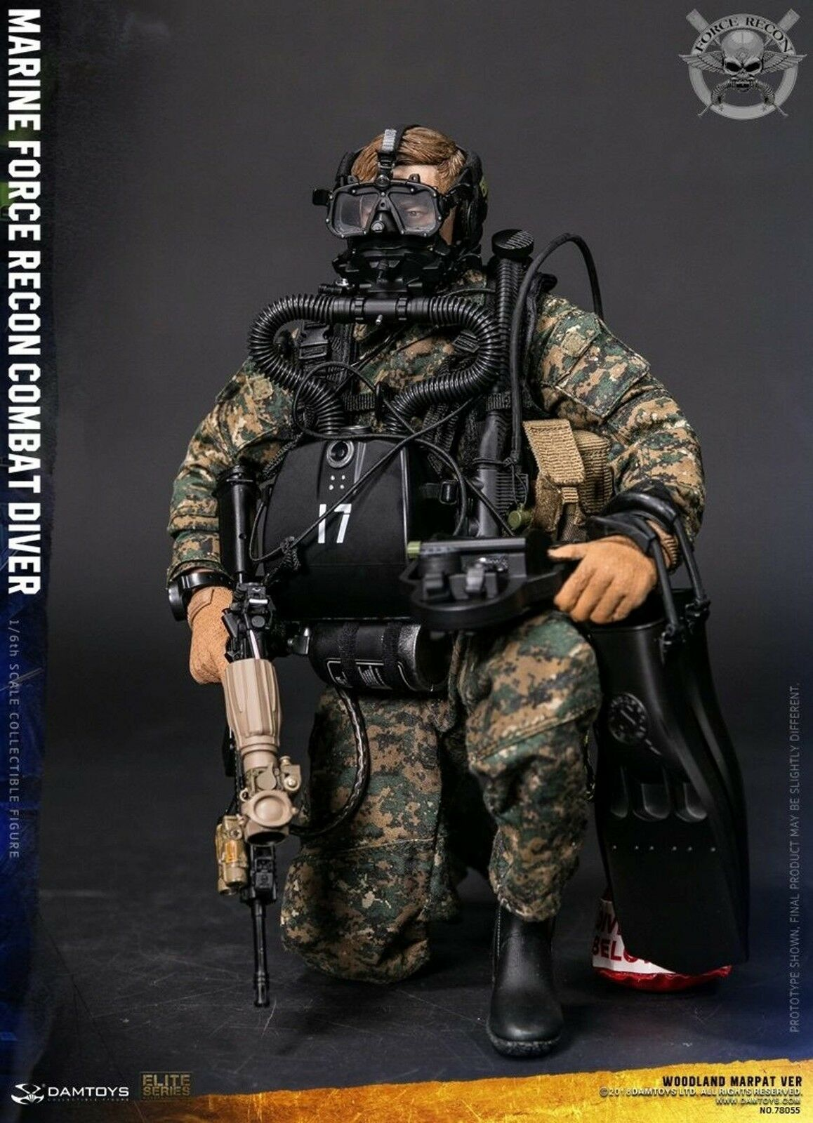 1:6 scale DAM TOYS 78055 MARINE FORCE RECON COMBAT DIVER Woodland REBREATHER