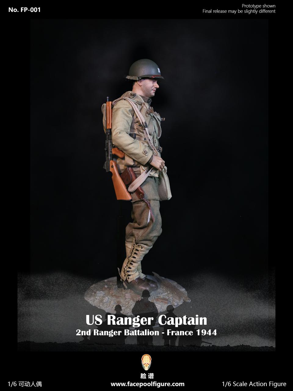 Facepoolfigure FP001 WWII US Captain 2nd Ranger Battalion France 1944 1//6 FIGURE