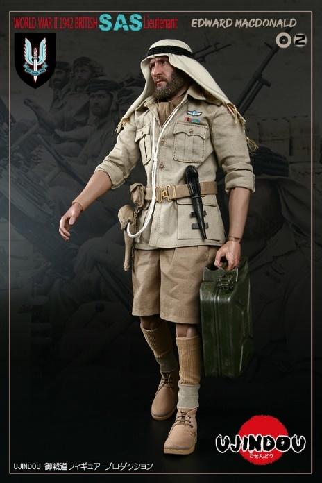 UJINDOU U9002 1//6 WWII British SAS Lieutenant Edward Macdonald 1942 Khaki Jacket